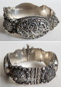 Ancien bracelet en argent massif ethnique Maghreb silver bracelet