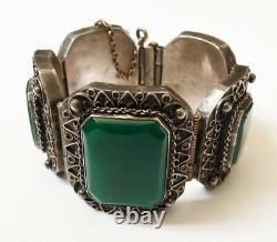 Ancien bracelet ethnique argent massif + pierre verte silver bracelet