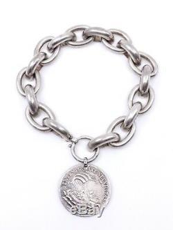 Ancien bracelet gourmette en argent massif et médaille St Georges XIXeme