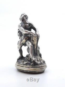 Ancien cachet sceau pendentif en argent massif Heracles et le lion XIXeme
