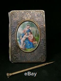 Ancien carnet de bal en argent ciselé massif tableau miniature peinte porte mine