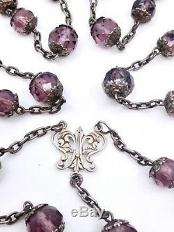 Ancien chapelet argent massif et perles couleur améthyste Art Nouveau