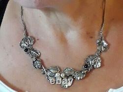 Ancien collier feuilles et perles en argent massif 925 27 grs