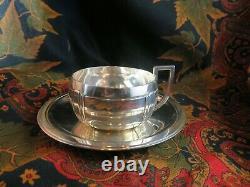 Ancien dejeuner tasse et sous tasse argent massif poincons minerve epoque 1930