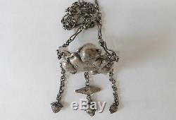 Ancien et Joli pendentif en argent divinité grenouille Chine 19ème chinese