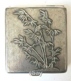 Ancien étui à cigarettes argent massif ciselé papillon silver box cigaret