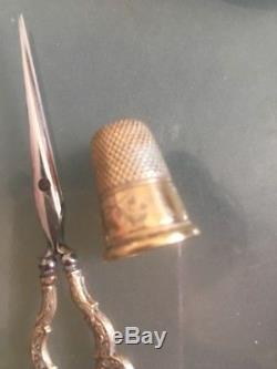 Ancien nécessaire de couture VERVELLE AUDOT ARGENT VERMEIL sewing set