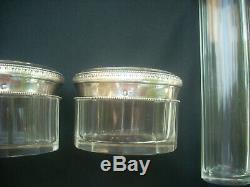 Ancien nécessaire de toilette cristal et argent massif XIXème