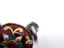 Ancien pendentif à pendeloques en argent massif et émaux Bressans XIXeme