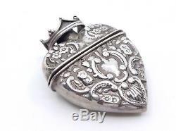 Ancien pendentif boite reliquaire coeur couronné en argent massif XIXeme (2)