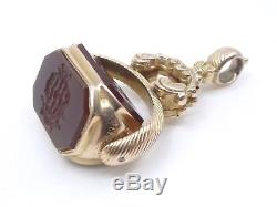 Ancien pendentif cachet sceau rotatif en or 14k et pierre dure châtelaine XIXe