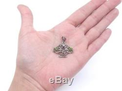 Ancien pendentif panier fleuri en argent massif marcassites et pierres 1900