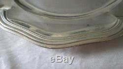 Ancien plat / assiette en Argent Massif silver modèle à filet Minerve 700 gr