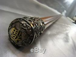 Ancienne Canne Pommeau Dragon Sculpture Animaliere Chine Walking Stick Malacca