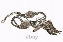 Ancienne Chaine de Montre à Gousset avec sa Clé Argent Massif Watch Chain 19e