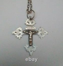 Ancienne Croix de savoie chambery en argent massif grille de maurienne XIXème