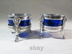 Ancienne Jolie Paire De Salerons Argent Massif Cristal Bleu Epoque Empire Lion