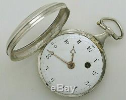 Ancienne Montre A Gousset Au Coq Argent Massif Old Watch