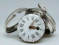 Ancienne Montre Gousset Coq 18ème Argent Fonctionne Clé Old Vintage Pocket Watch