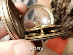 Ancienne Montre Gousset à Coq Argent Massif Cadran Email Peint Polychrome superb