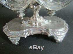 Ancienne Saliere Double En Argent Massif Salerons Cristal Baccarat