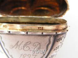Ancienne Vinaigrette Argent Vermeil Forme Coeur Et Couronne Antique Silver Box