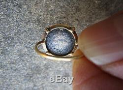 Ancienne bague pièce argent Louis Philippe et or massif 18 carats 18k taille 48