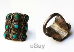 Ancienne bague tibétaine argent et turquoise Tibet 19e