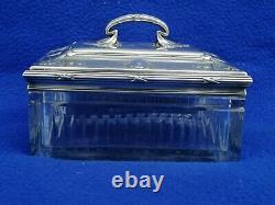 Ancienne boite coffret cristal argent massif minerve Silver crystal box