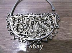 Ancienne boucles d'oreilles en argent massif ethnique filigrane berbere Kabyle
