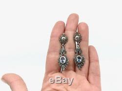 Ancienne boucles pendants doreilles en argent massif et or pierres bleues