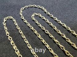 Ancienne chaîne sautoir en argent massif 145cm 48.3gr XIXème collier