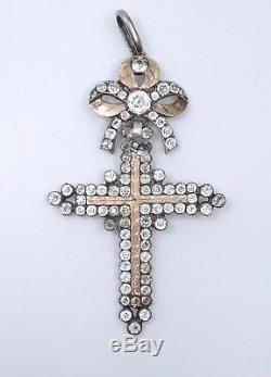 Ancienne croix d'Yvetot argent massif et pierre du Rhin Normandie XIXe