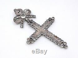 Ancienne croix d'Yvetot argent massif et pierre du Rhin Normandie XIXe (2)