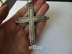 Ancienne croix pectorale en argent massif 36 grammes chrétien crucifix Christ