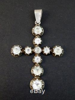 Ancienne grande croix regionale provençale Arlesienne argent massif et strass