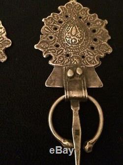 Ancienne paire de fibules berbères, argent massif poinçonné