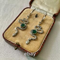 Anciennes Boucles D'oreilles Argent Massif Serpent Jade Bijou Createur