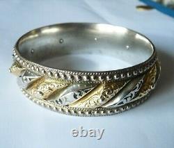 Antique Ancient Solid Silver And Gold Bijou Ancien Bracelet Argent Et Or Massif