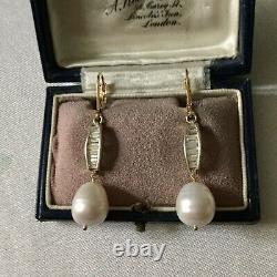 Art Deco Splendides Anciennes Boucles Doreilles Perle, Topaze Vermeil Argent