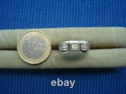 B24 Bague Tank Art Deco Ancien Argent Massif Sanglier Vrai Diamant 0.15ct Bijou