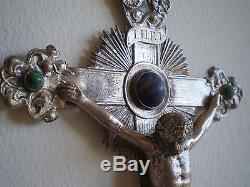 BENITIER CHRIST ARGENT MASSIF XIX°s ANCIEN ORFEVRERIE CABOCHON PIERRE DURE CROIX