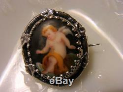 BROCHE ANCIENNE Début XIXème ARGENT MASSIF ANGE PUTTI Miniature sur Porcelaine