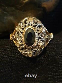 Bague Ancienne Napoléon III -Or Jaune 18K Et Argent Massif Saphir Et Diamants