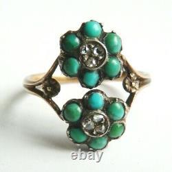Bague OR massif et argent + turquoises + diamant Bijou ancien gold ring 19e s