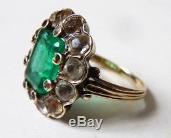 Bague ancienne OR massif 18k + argent + pierre verte Bijou ancien gold ring