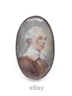 Bague ancienne XVIIIeme en argent massif peinture miniature portrait Noblesse