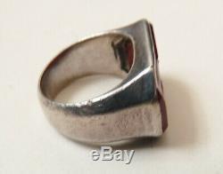 Bague ancienne en ARGENT massif et intaille armoiries blason silver ring