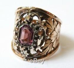 Bague ancienne en vermeil ARGENT massif et pierre violette silver ring