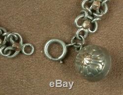 Beau Bracelet Ancien En Argent Massif & Vermeil Belle Maille Avec Breloques
